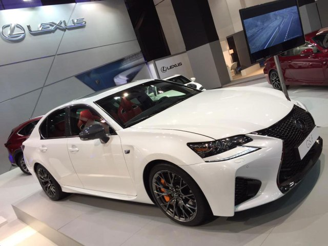 Ultra White 2016 Lexus GS F with Circuit Red interior